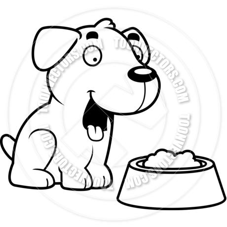 460x460 Cartoon Labrador Retriever Dog Food (Black And White Line Art) By