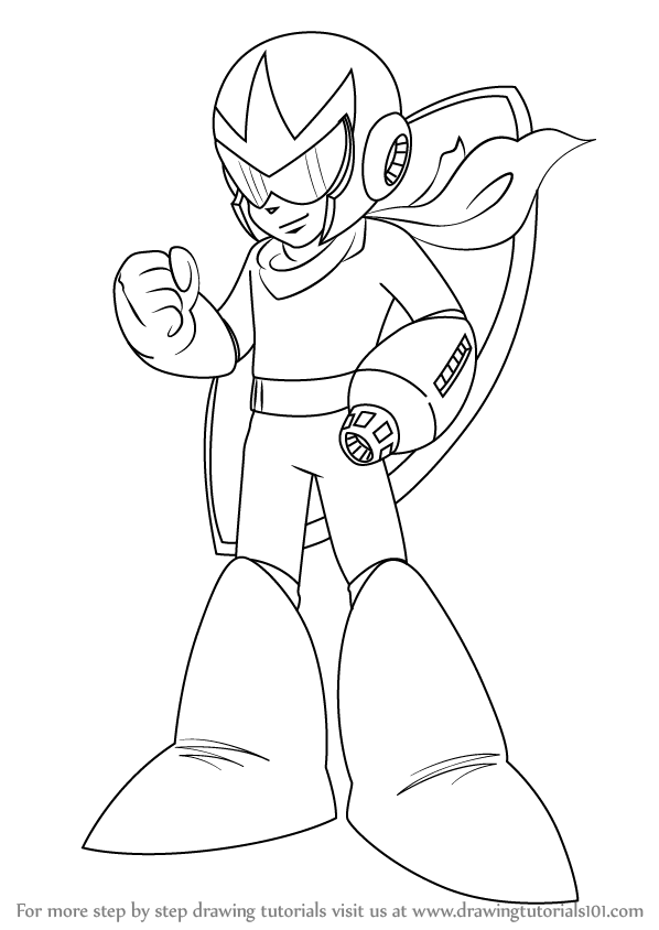 598x844 Learn How To Draw Proto Man From Mega Man (Mega Man) Step By Step