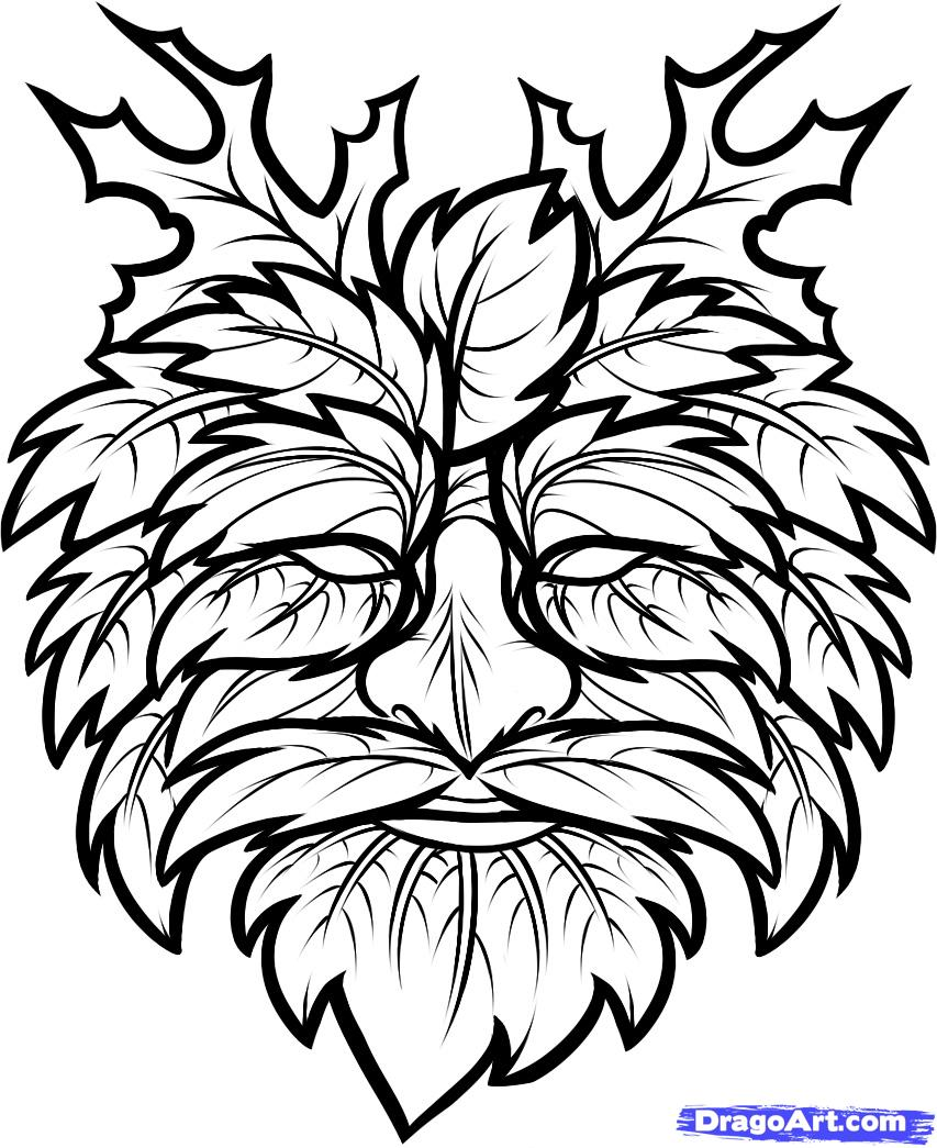 853x1045 Greenman How To Draw The Green Man, Green Man Step 7 Patterns