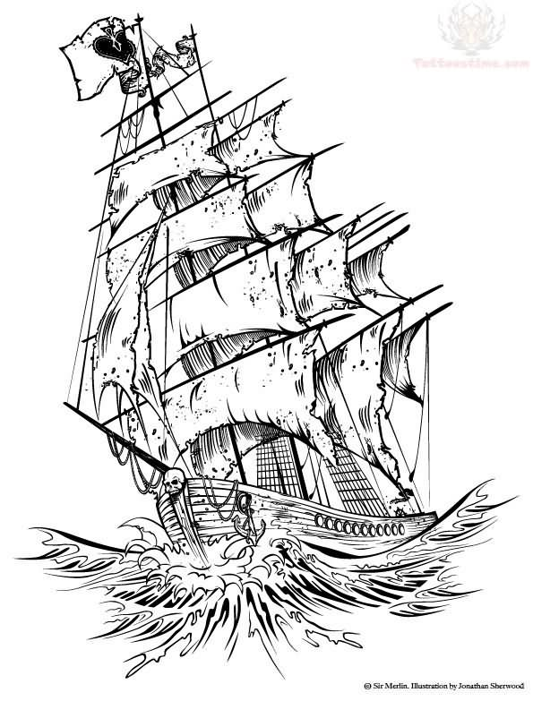 Black Pearl Ship Drawing