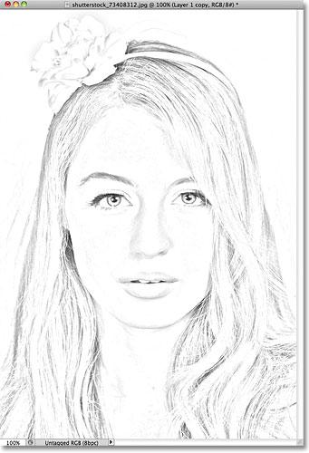 341x500 portrait photo to color sketch