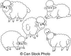 243x194 Cute Black Sheep Set. Illustration Set Of 9 Cute Cartoon Vector