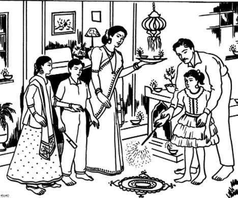 468x390 Diwali Paintings, Drawing Pictures, Scene, Diwali Sketch For Kids