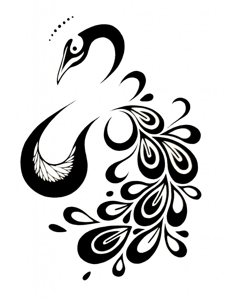 776x1024 Nail Art Peacock Design Black And White Free Download Clip Art