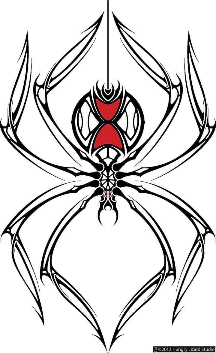 720x1176 Black Widow Drawing Tribal Style Simple Black Widow Spider Tattoo