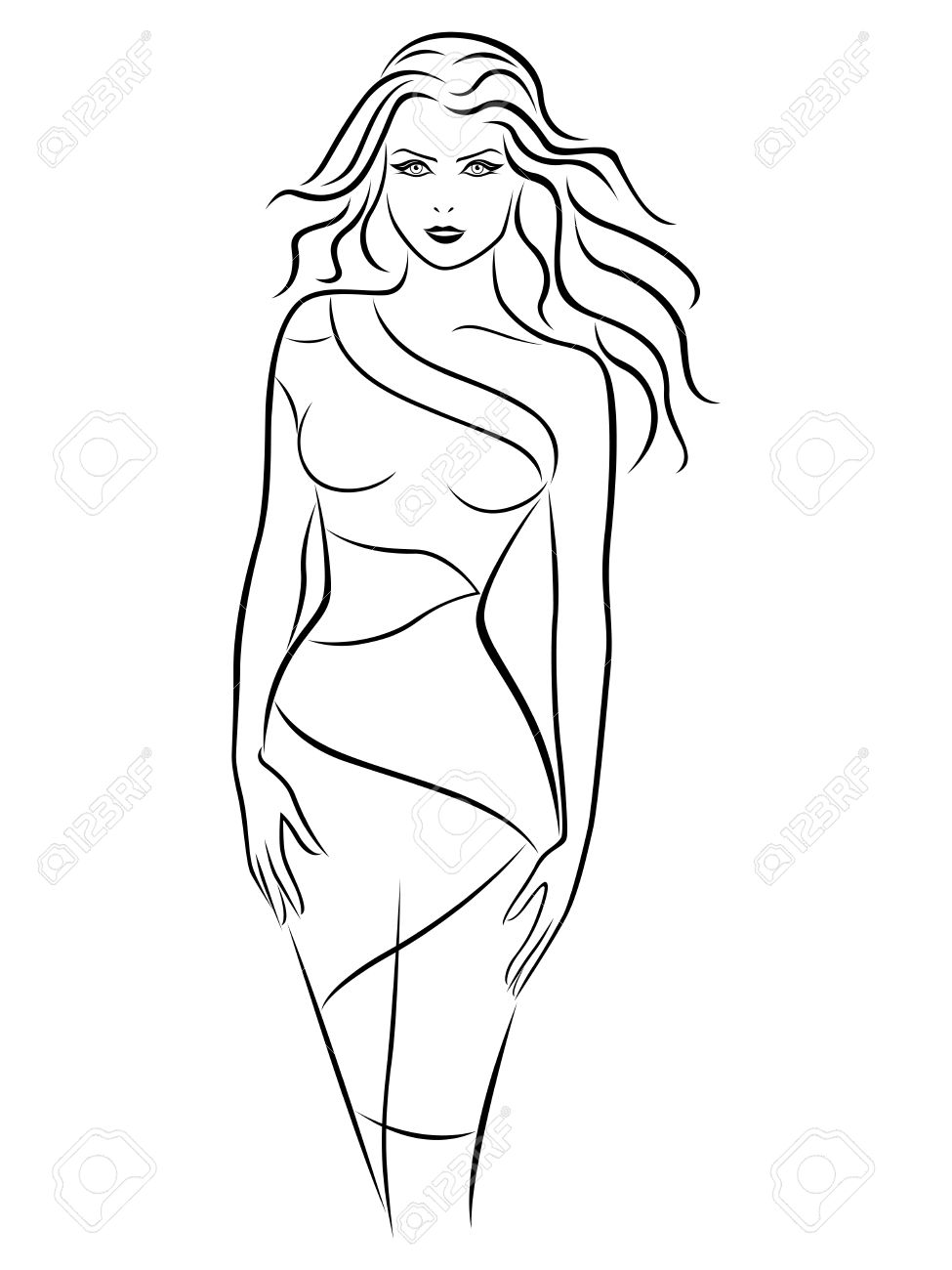 975x1300 Graceful Young Women In Fitting Dress, Hand Drawing Vector Outline