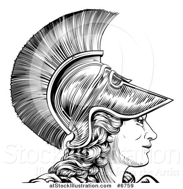 600x620 Vector Illustration Of A Black And White Engraved Greek Warrior