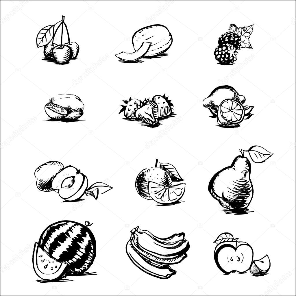 1024x1024 Apple, Blackberry, Apricot, Watermelon, Banana, Kiwi, Orange