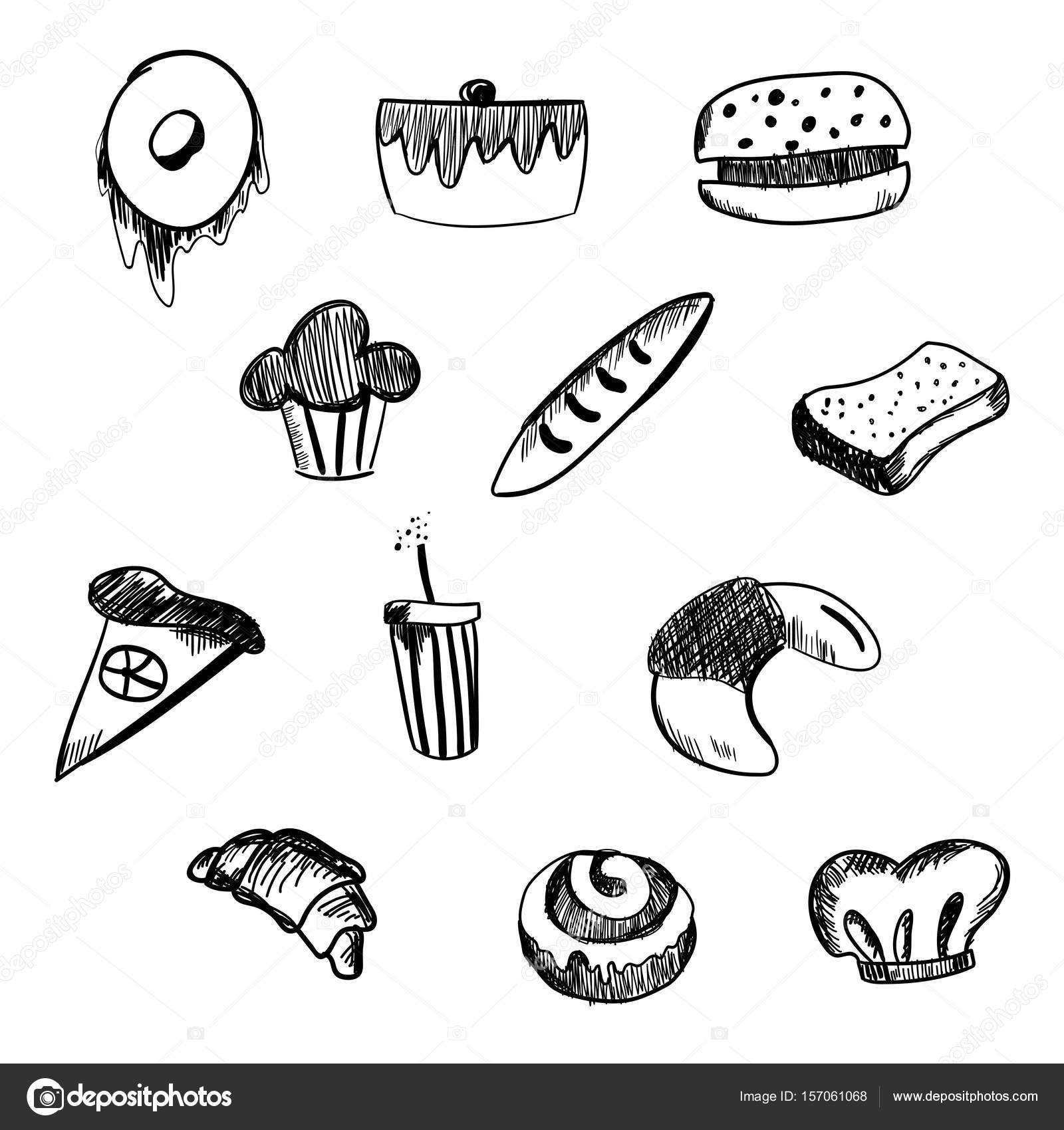 1600x1700 Hand Drawn Bakery And Fast Food Icon Set. Blackboard Stickers