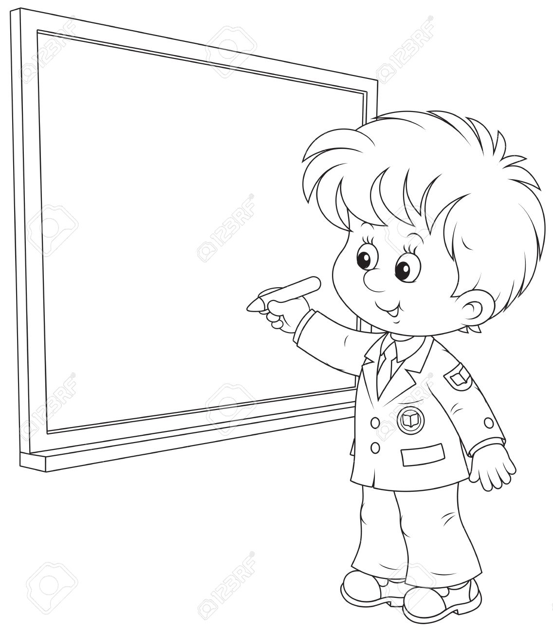 1136x1300 Schoolboy Writes On The Blackboard With Chalk Royalty Free