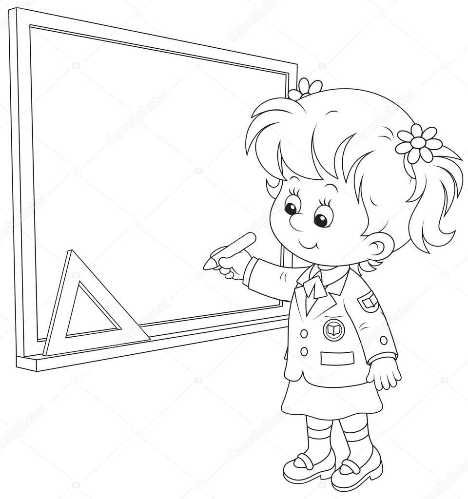 960x1024 Schoolgirl Writes On The Blackboard Stock Vector Alexbannykh