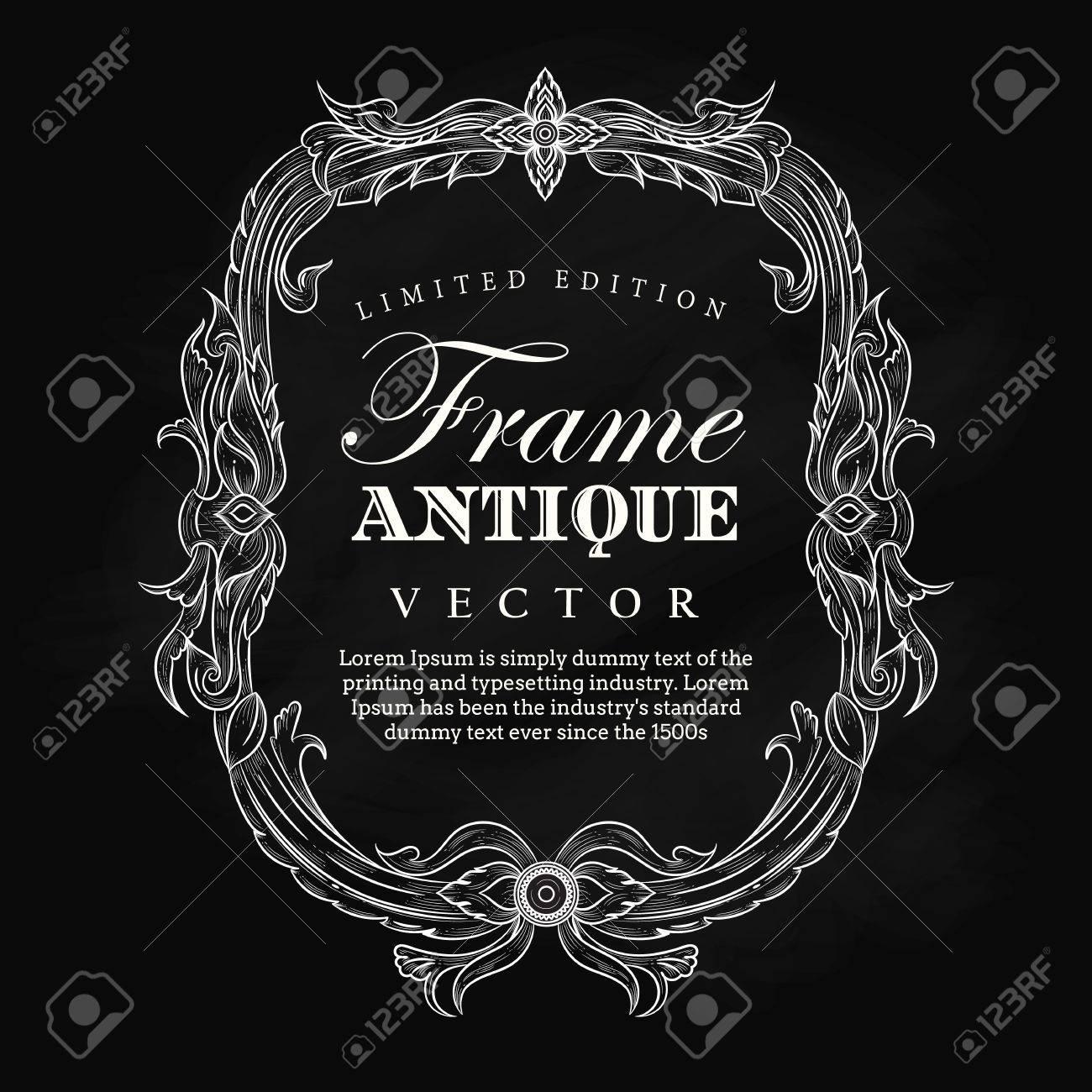 1300x1300 Antique Frame Vintage Hand Drawn Blackboard Label Banner Elegant