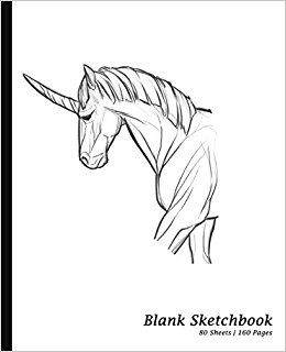 260x320 Blank Sketchbook Unicorn Drawing, Sketchpad Drawing Book 7.5 X