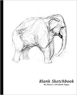 260x320 Blank Sketchbook Elephant Cover, Sketchpad Drawing Book [7.5 X