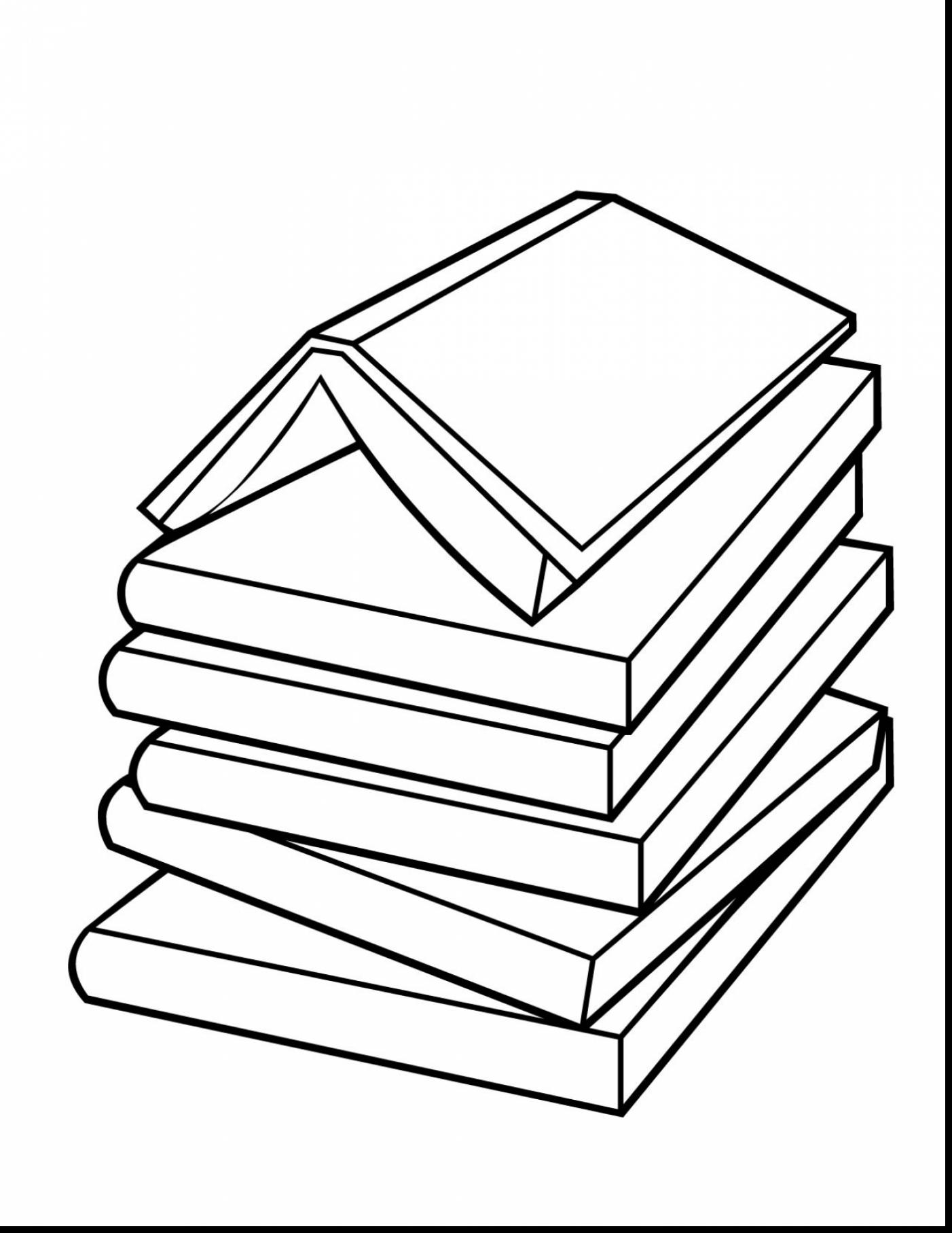 1402x1815 Beautiful Line Drawing Stack Of Books Clip Art With Book Coloring