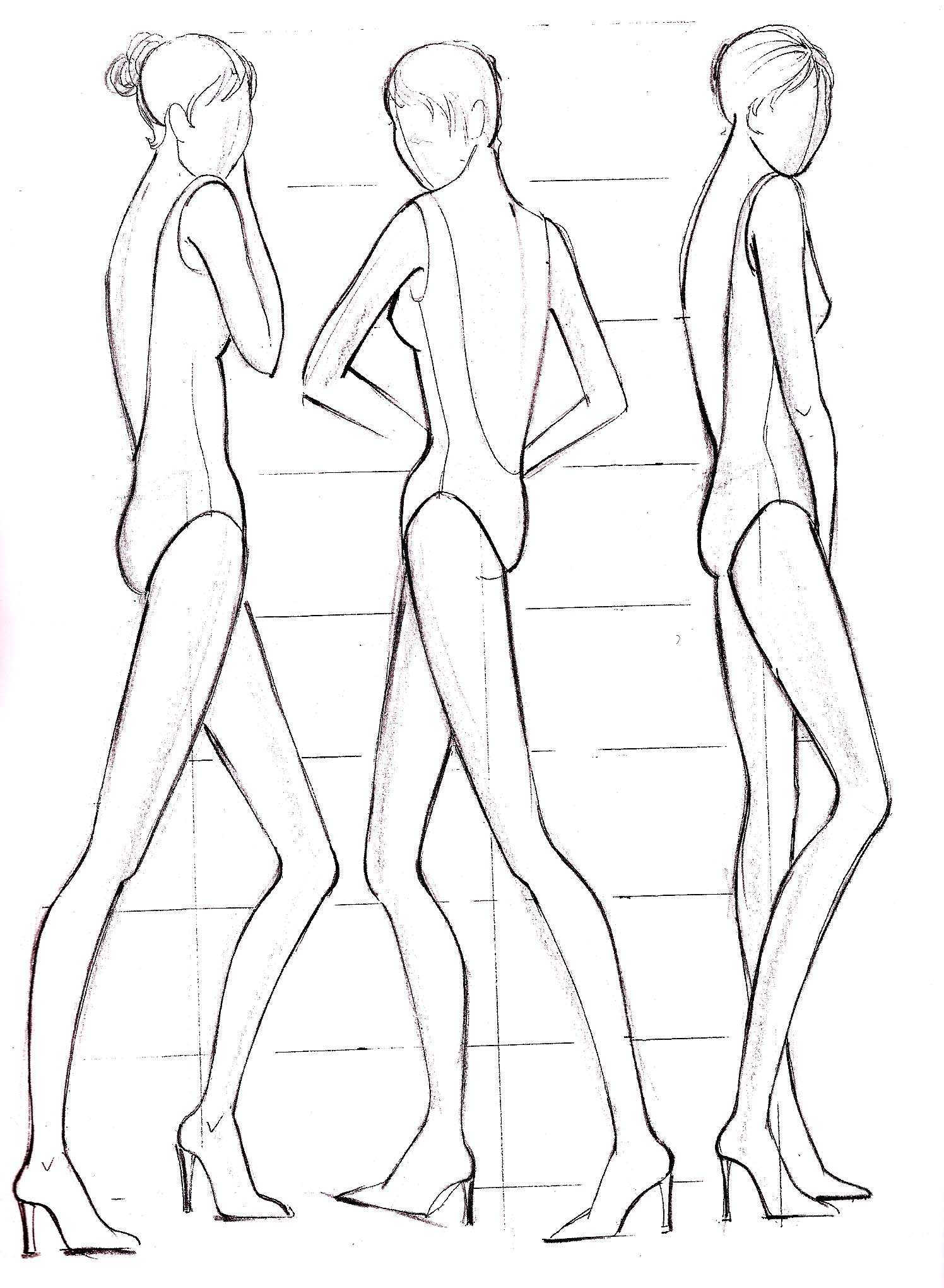 1496x2040 Fashion Sketch Body Template