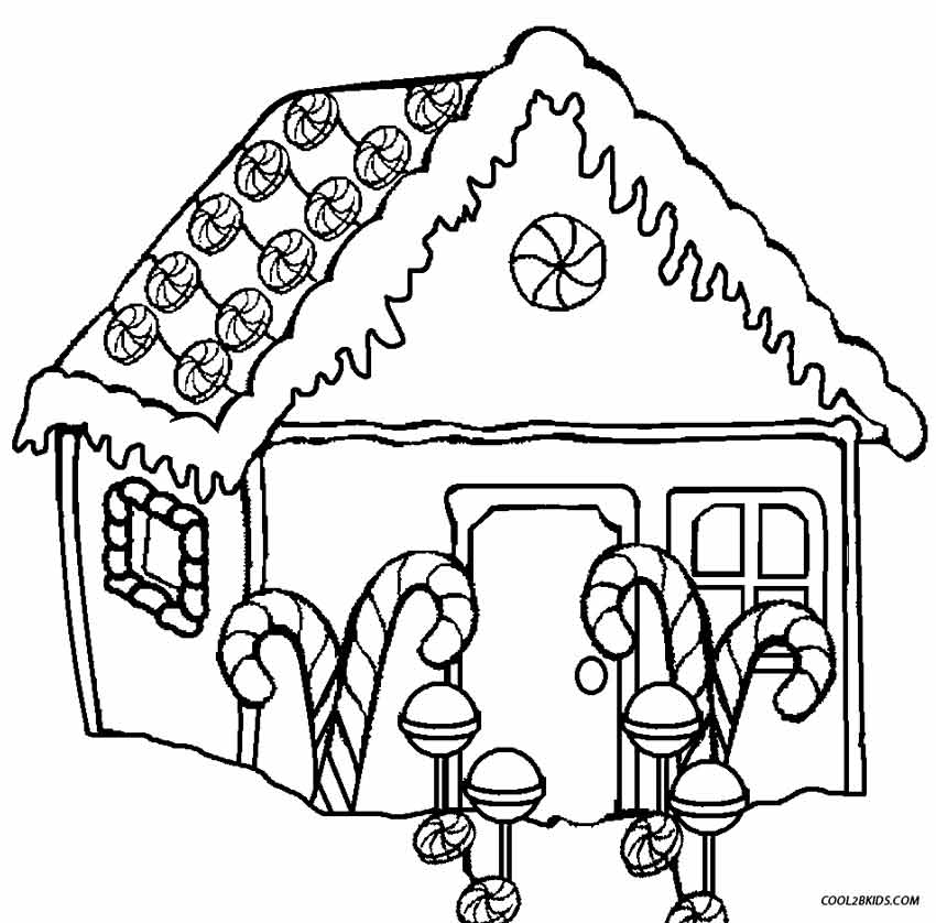 850x838 Printable Gingerbread House Coloring Pages For Kids Cool2bkids