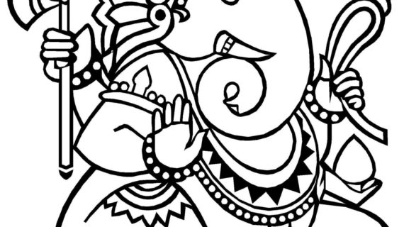 570x320 Simple Drawing Of Lord Ganesha Pencil Drawing In Lord Ganesha Face