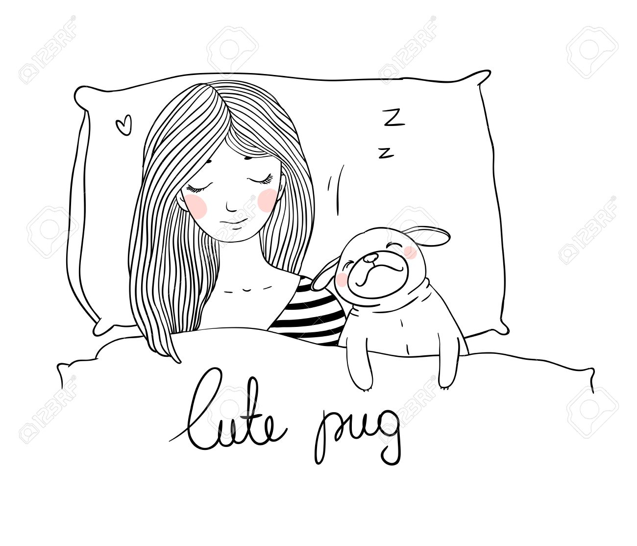 1300x1114 Sleeping Beautiful Young Girl And A Cute Pug.pillow And Blanket