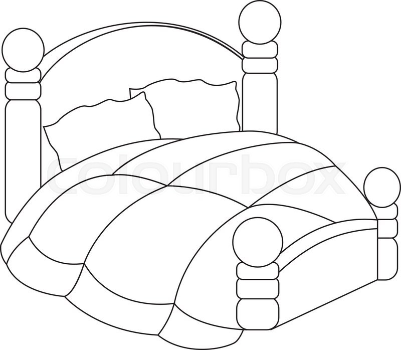 800x698 Vector Illustration Of Bed With Pillows And Blanket Stock Vector