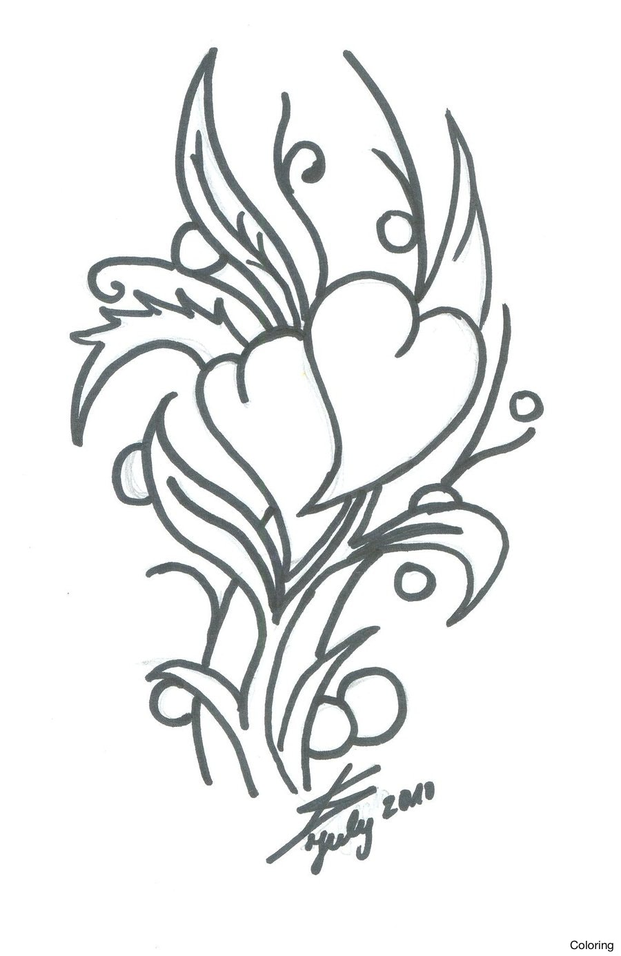 900x1385 Heart And Flowers Drawings Coloring Rose Pencil Drawing By