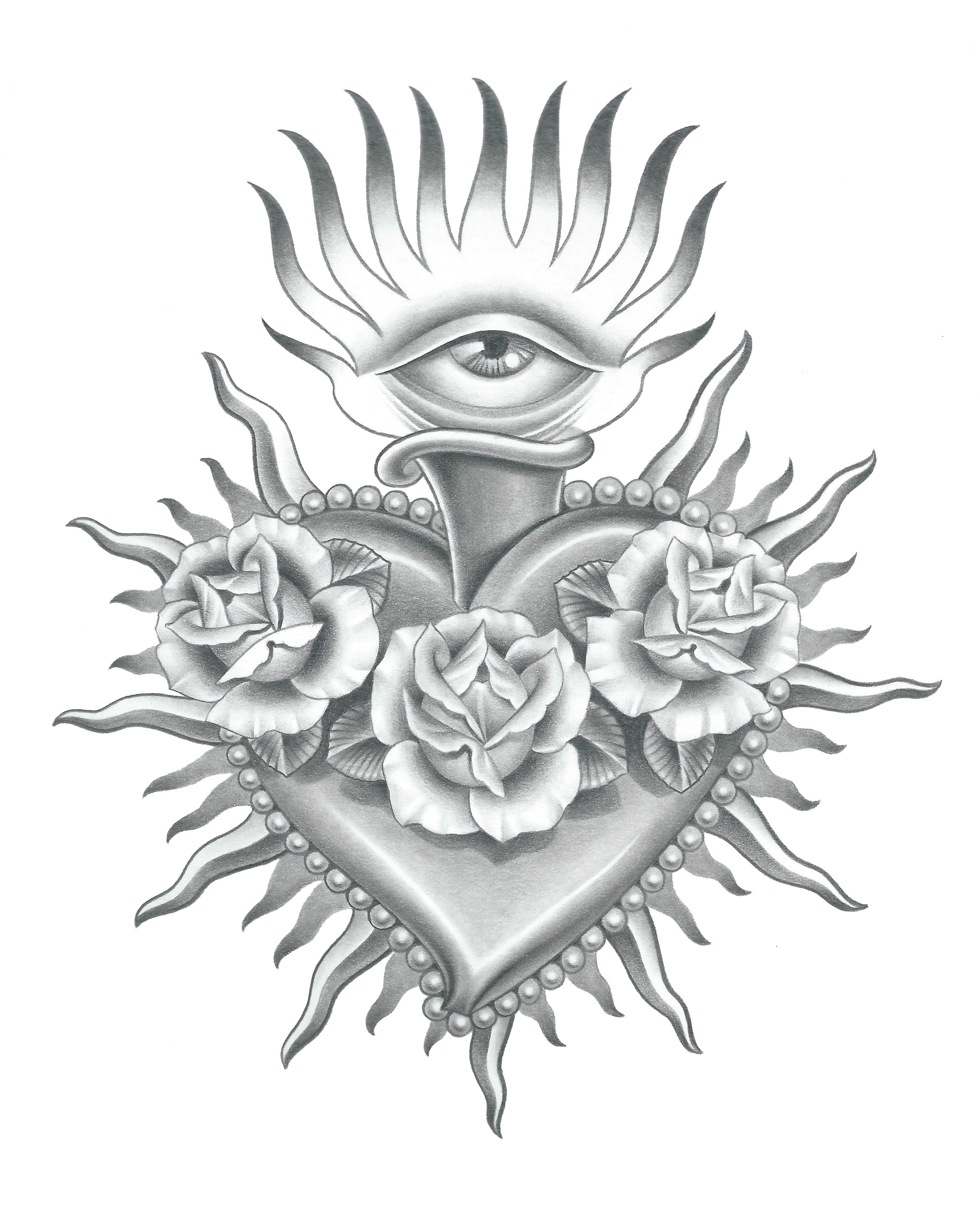 2173x2717 Realistic Sacred Heart Drawing