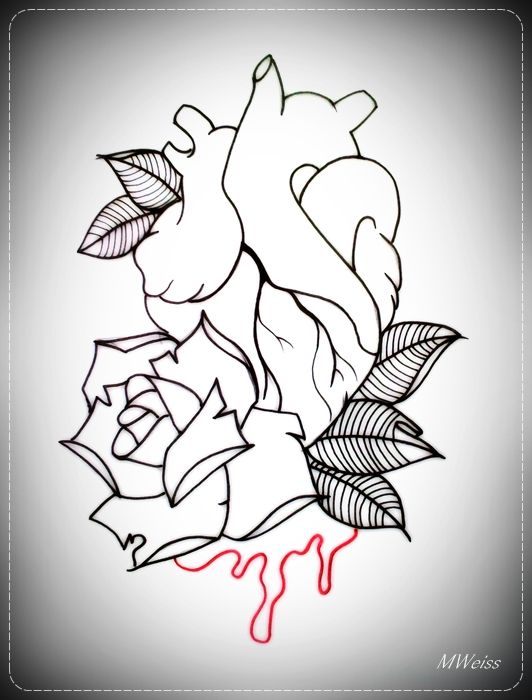 Bleeding Rose Drawing