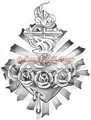 305x404 Bleeding Sacred Heart With Roses Tattoo Design