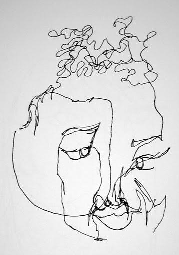 359x512 Blind Contour Portrait Drawing