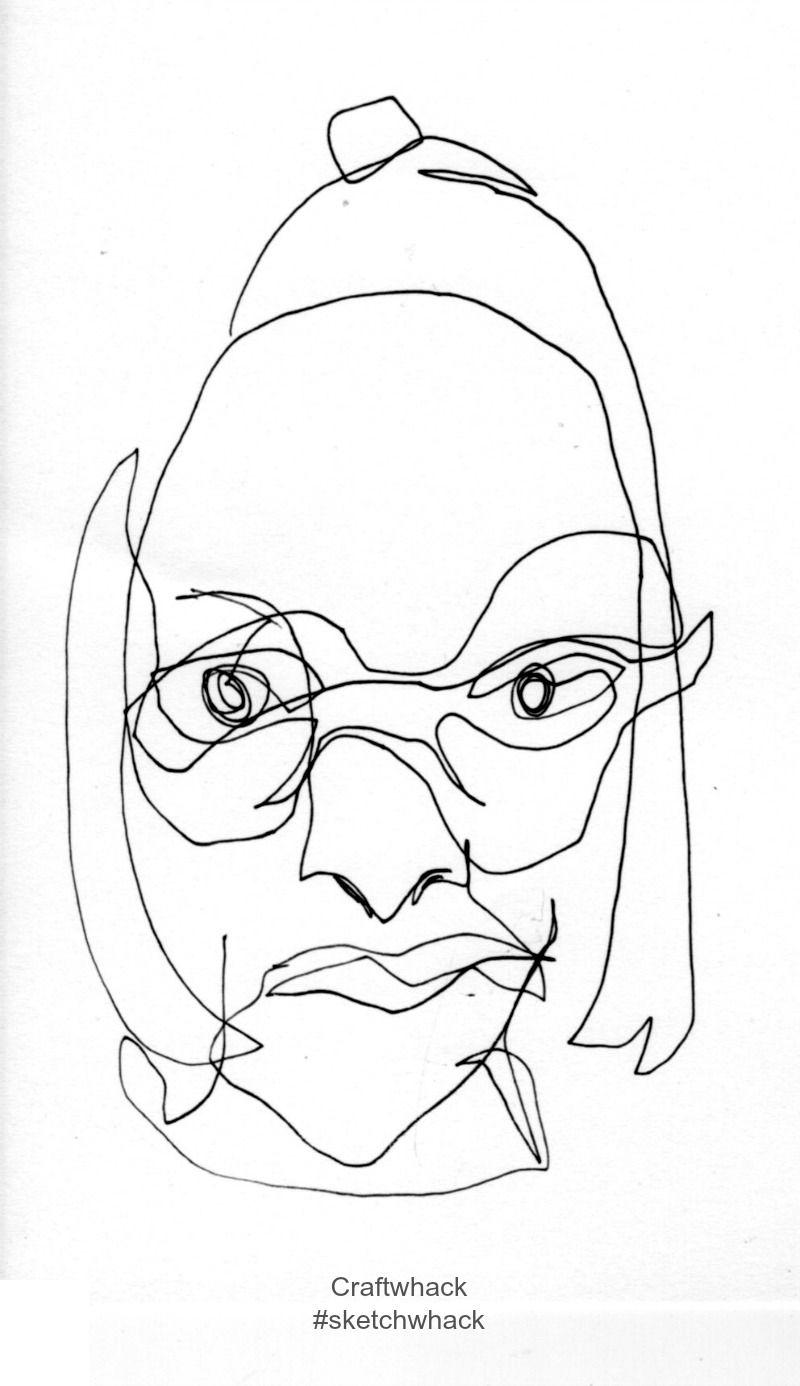 800x1386 Blind Contour Self Portrait