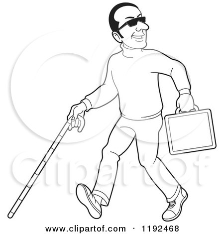 450x470 Clipart Of A Happy Black White Blind Man With A Cane