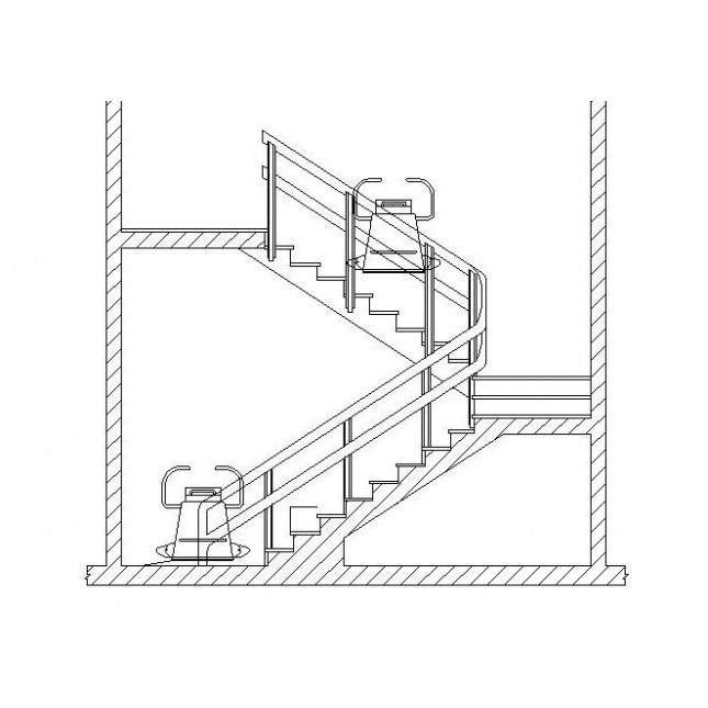 645x645 Cad Block Stair Lift Dwg