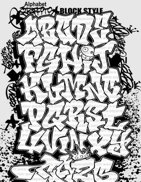 488x630 block style font graffiti alphabet letter a z