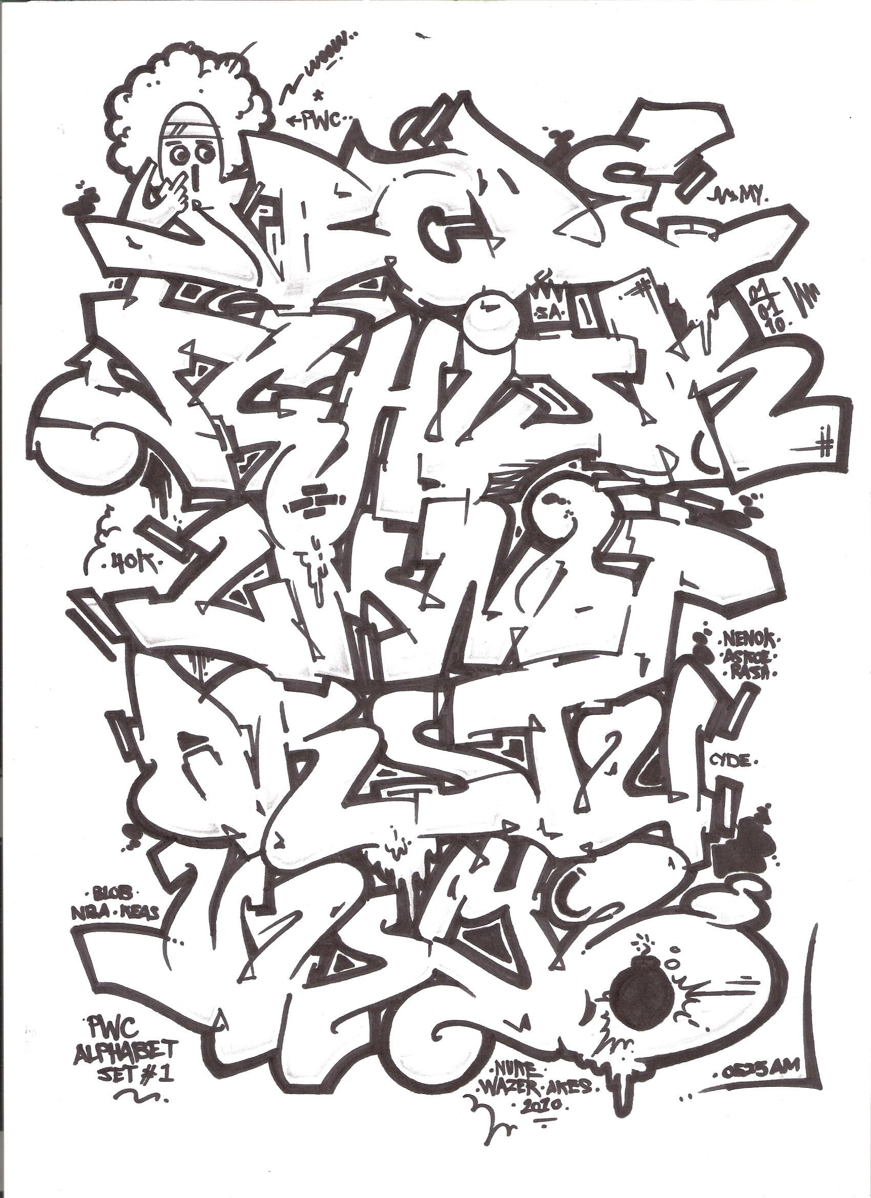 1700x2338 Graffiti Letters Block Style Block Graffiti Style Drawings How