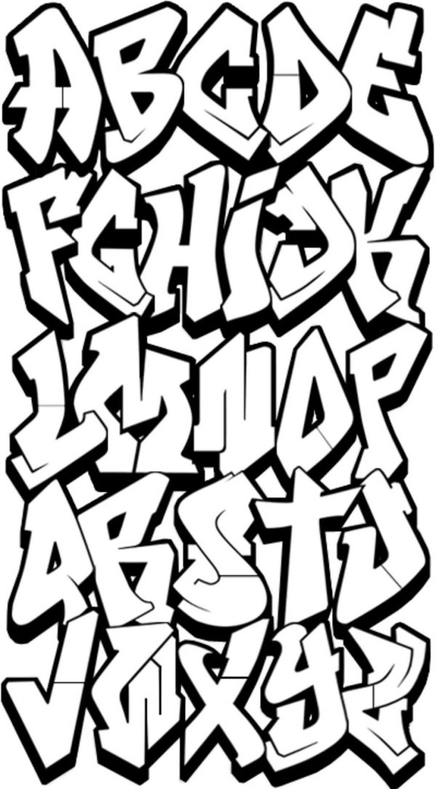 885x1600 Block Graffiti Letters Alphabet