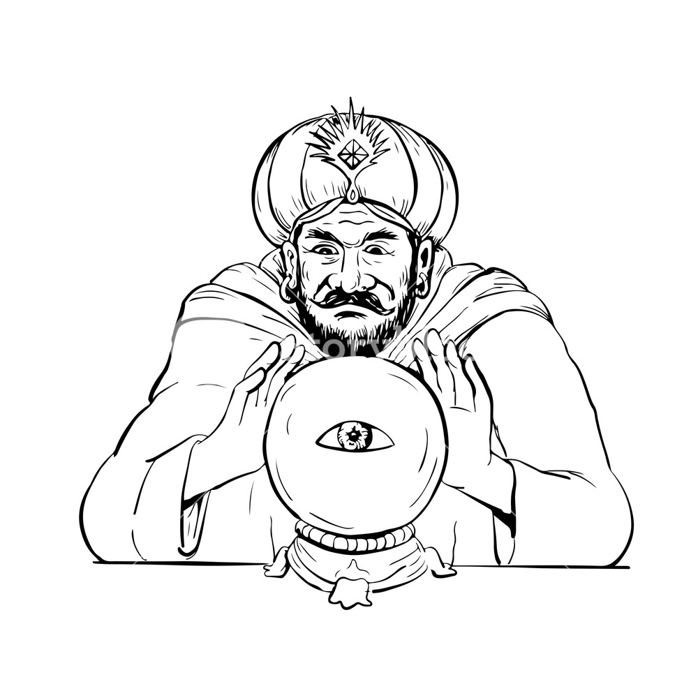 1000x1000 Drawing Sketch Style Illustration Of A Fortune Teller, Medium