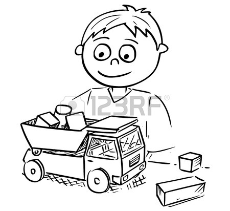 450x412 Hand Drawing Vector Cartoon Of A Boy Playing With Toy Truck Car