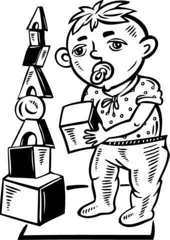 340x480 Boy Playing With Toy Blocks Coloring Page Free Printable