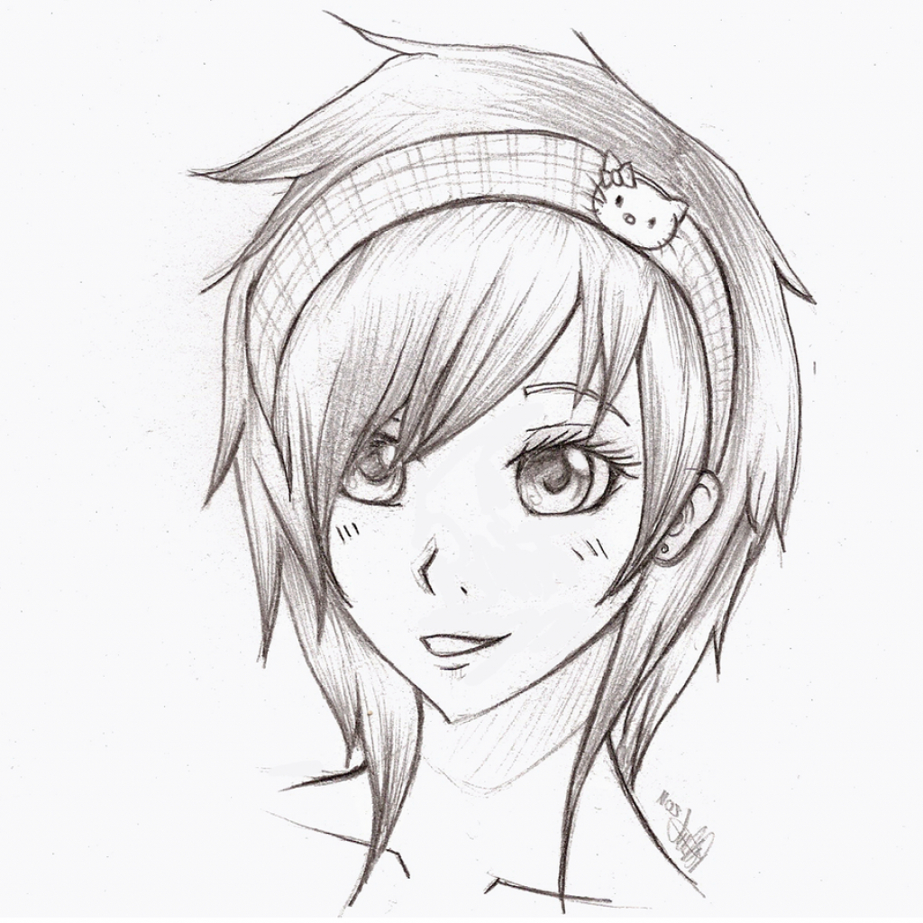 1024x1024 Cartoon Beautiful Girl Sketch Beautiful Blonde Girl Sketch Stock