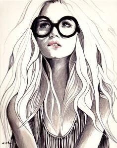 236x298 Top Knot Fashion Illustration Art Print Tops