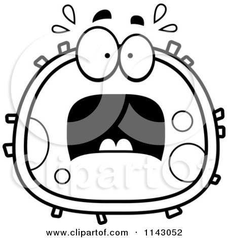 450x470 Cartoon Clipart Of A Black And White Drunk Blood Cell