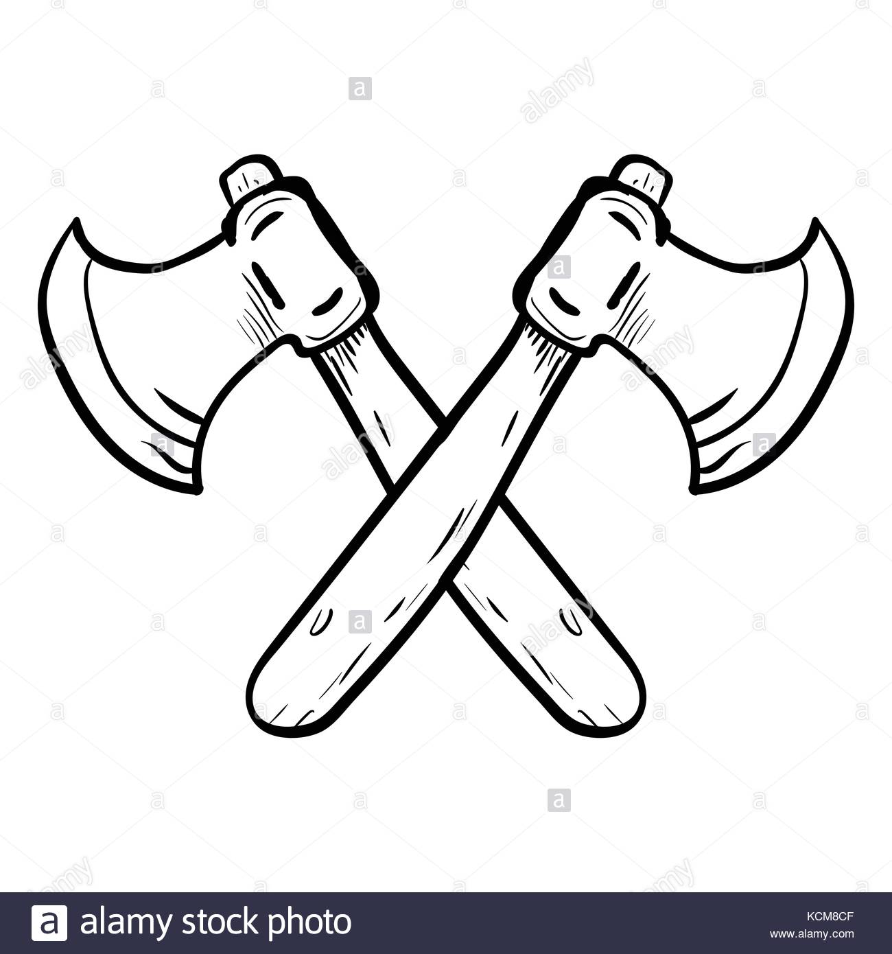 1300x1390 Hand Drawing Of Two Crossed Axes Isolated On White Background