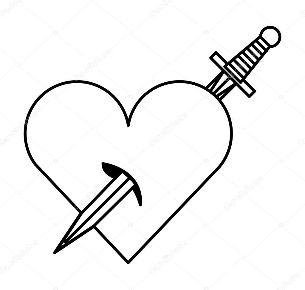 1023x972 Sword Drawing Tattoo Style Isolated Icon Stock Vector