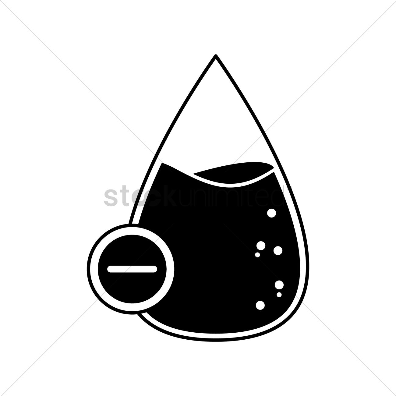 1300x1300 Blood Drop With Negative Mark Vector Image