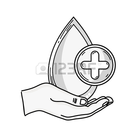 450x450 Outline Drawing Of Hand Holding Blood Drop With Cross In