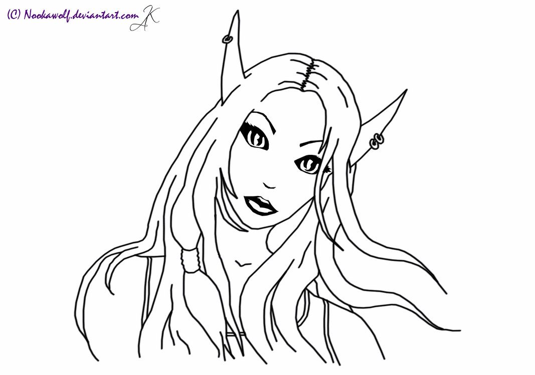 1067x748 Female Blood Elf Lineart By Nookawolf