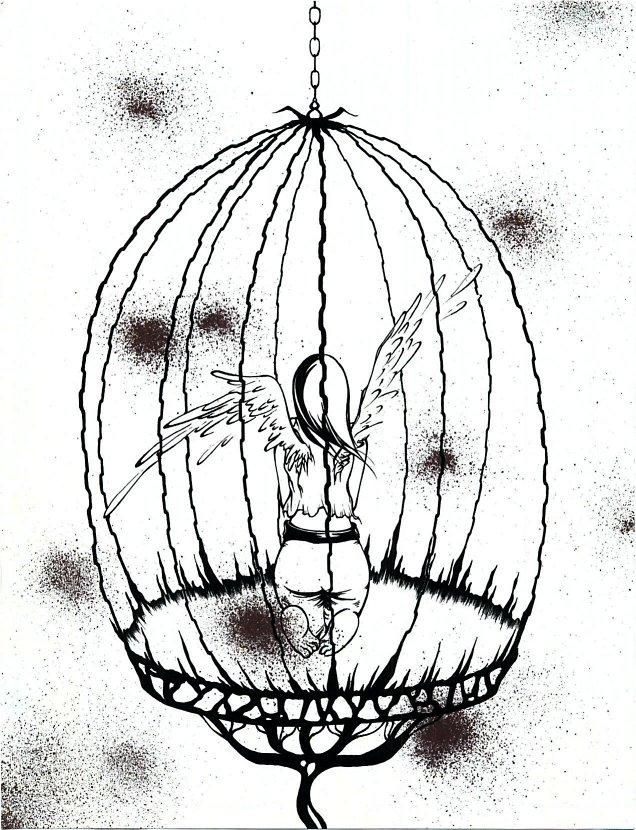 636x830 Bird Cage Sketch Bird Cage By Bloodsplatter Doodle Doodle Doo