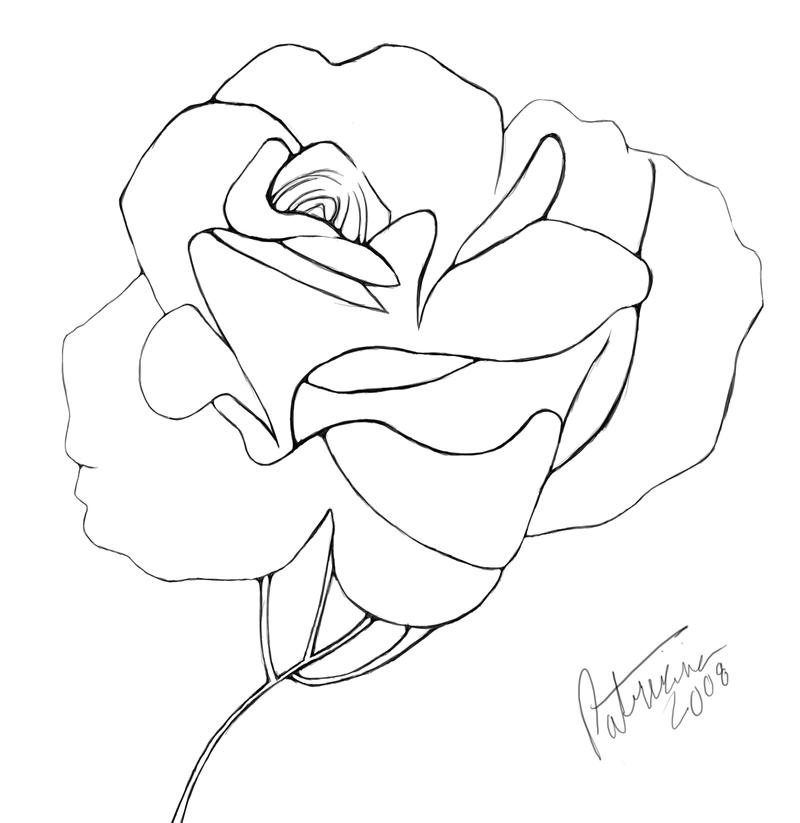 800x823 Blooming Rose Line Art By Nisshoku Art