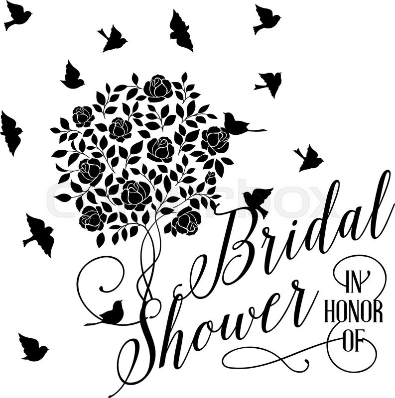 793x800 Bridal Shower Card Of Isolated Blooming Rose Bush. Vector