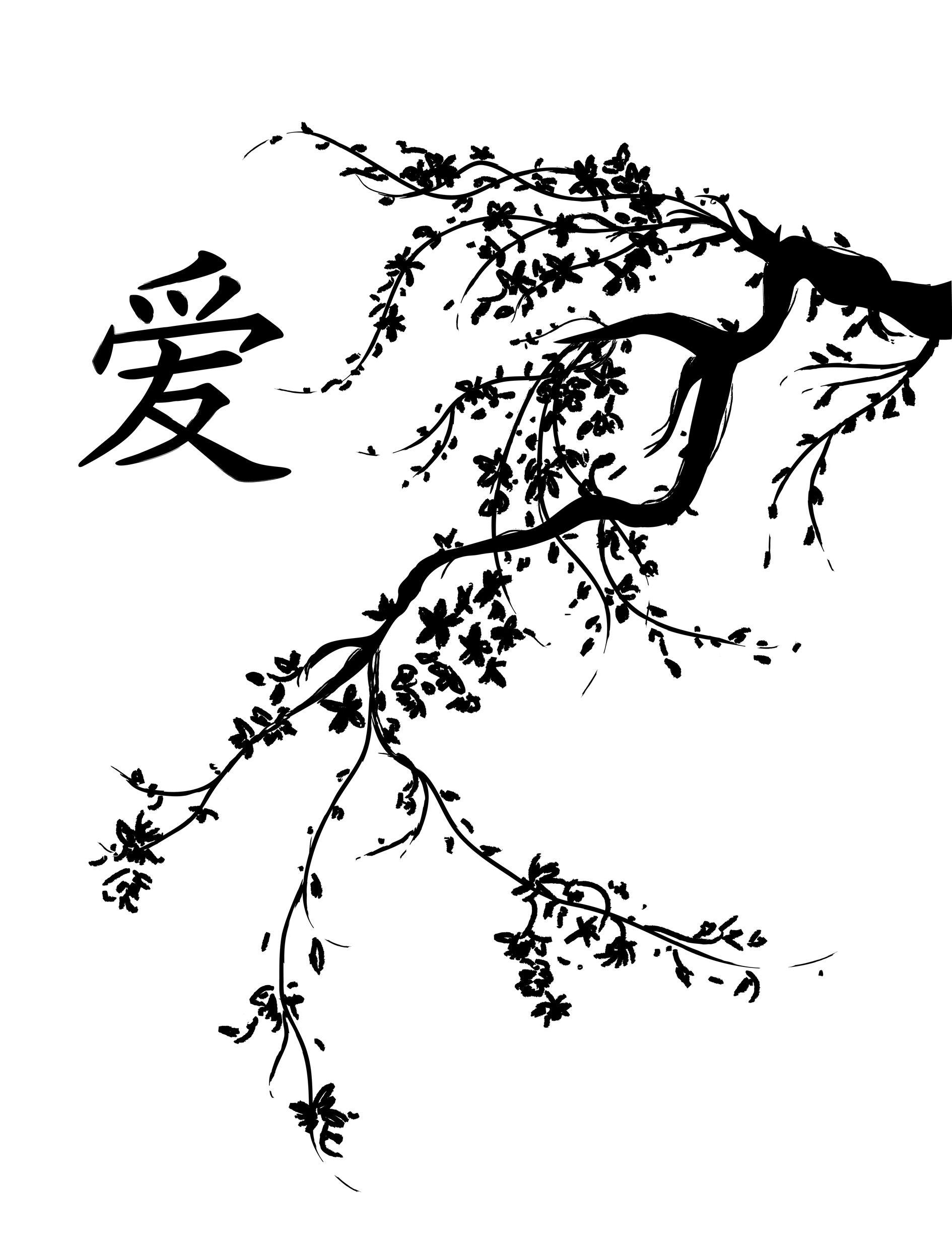 1890x2486 Japanese Cherry Blossom Tree Black And White Cherry Blossoms